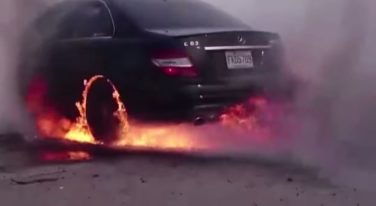 Mercedes C63 AMG Burnout Fire