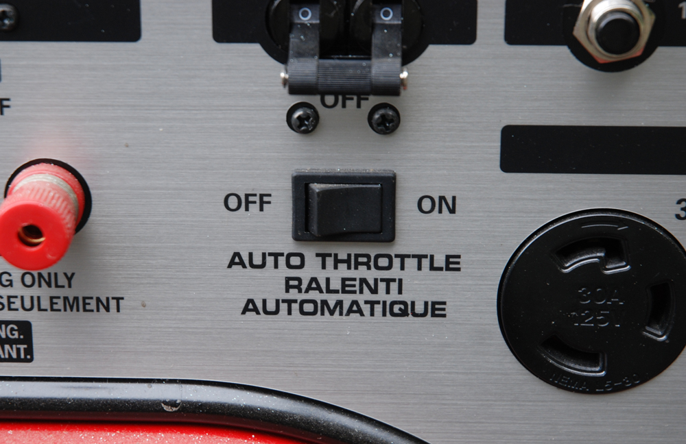 Auto Throttle is a nice feature. When set to Auto Throttle, the generator when the loads are reduced or disconnected. It makes for a much quieter pit environment.