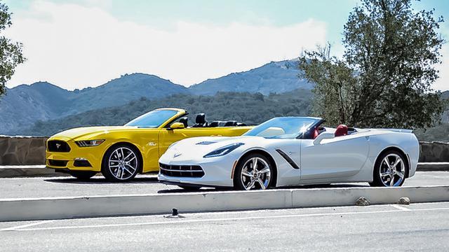 Corvette Convertible versus Mustang GT Convertible