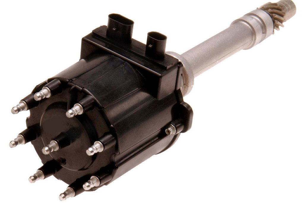An example of an electronic ignition distributor. You can tell it's an electronic ignition model because there are two connectors on the side of the distributor.