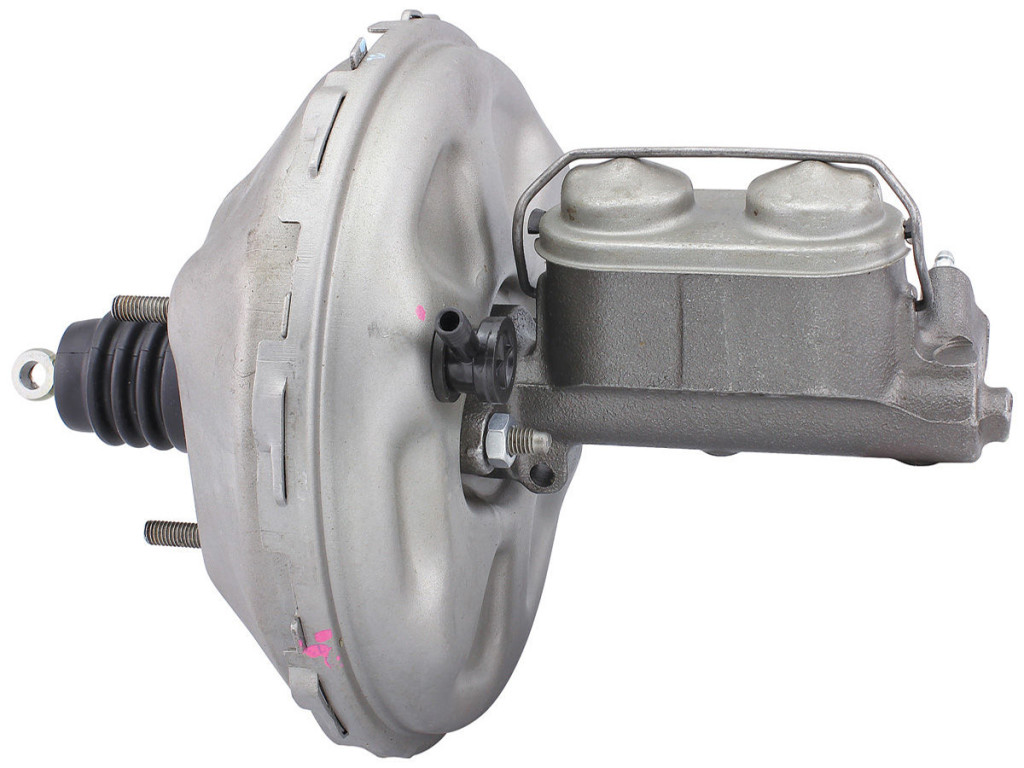 This is an example of a power master brake cylinder with cast metal body and power booster out of an early model Buick Riviera.