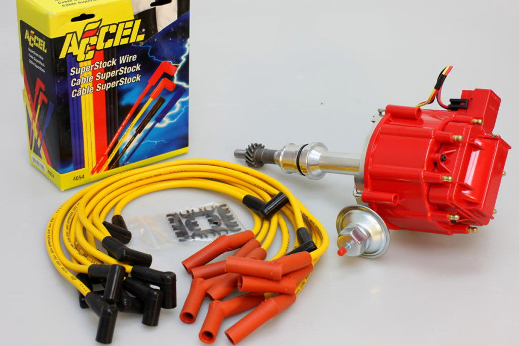 An aftermarket performance ignition system upgrade kit from Accel.