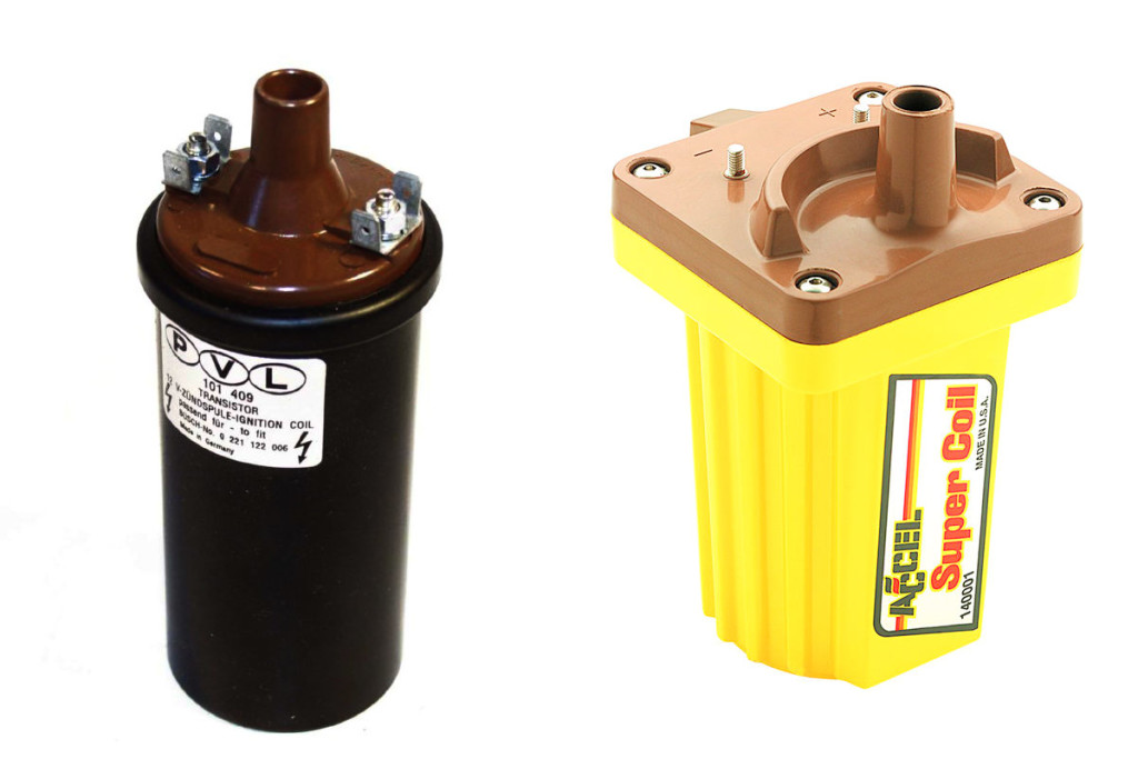 An OEM ignition coil (left) and a performance aftermarket coil from Accel - an Accel SuperCoil.
