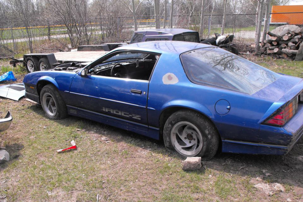 : This is what Dan started with, a basic 1984 Camaro Z28 as the Build Car and a 1984 Camaro IROC-Z as the donor car.