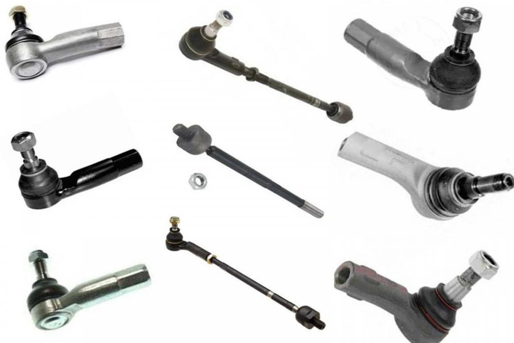 Examples of rack and pinion inner tie sockets and outer tie rod ends.