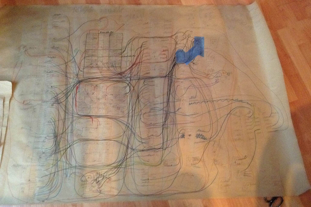 None of the wiring matched up to available schematics, so Dan made his own. It's not fancy, but it works.