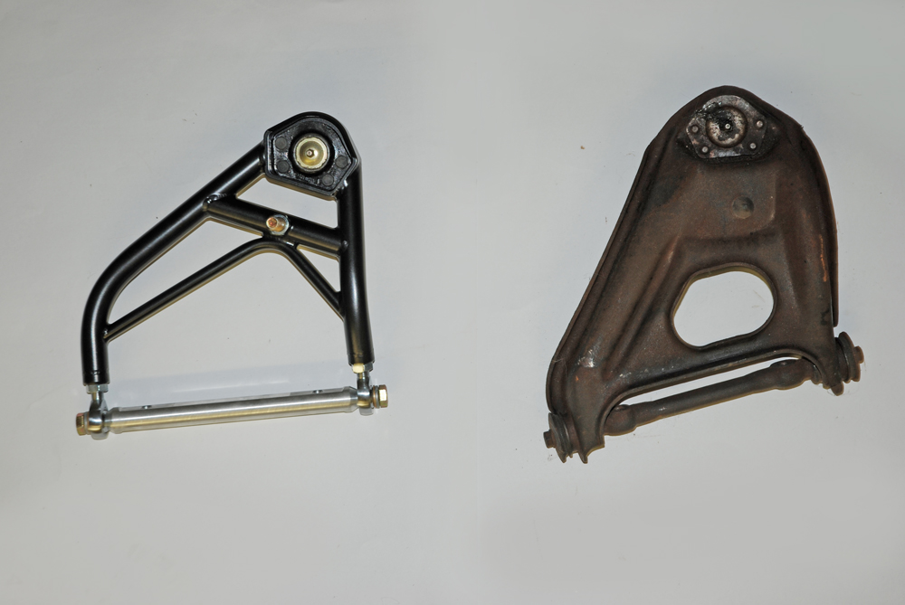 This photo shows the difference between a TRZ race upper and a stock upper.  As you can see, there is quite a physical difference.  There's more to it than meets the eye.  See the text for more.