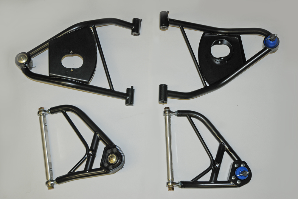 The complete a-arm package from the folks at TRZ Motorsports will reduce the front end weight of a car by as much as 15 pounds per side (30 pounds total), depending of course, upon the application.