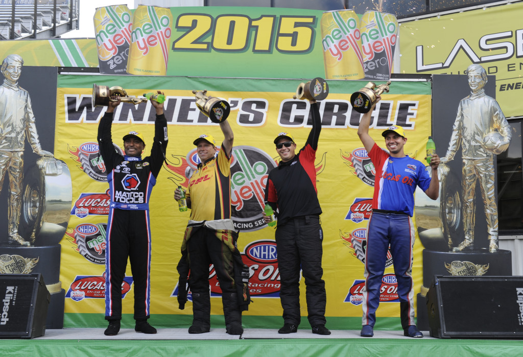 (Left to Right) Round 2 of the Countdown in St. Louis saw winners in Top Fuel, Antron Brown, Funny Car, Del Worsham, first time winner Drew Skillman in Pro Stock, and Hector Arana, Jr. in Pro Stock Motorcycle.