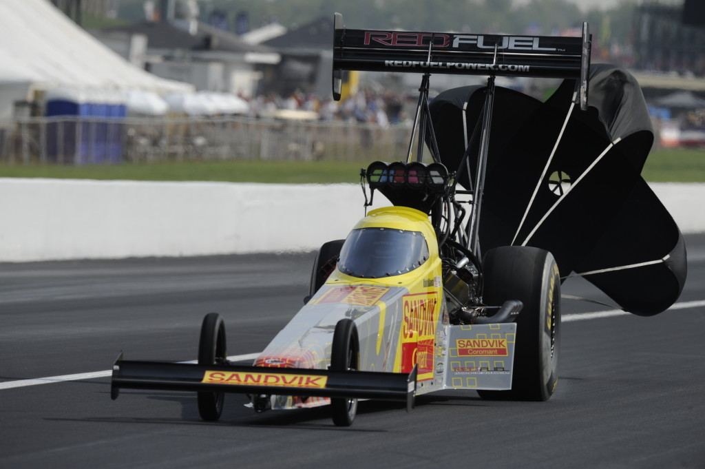 Khalid alBalooshi driving the DSR Red Fuel Powered by Schumacher/Sandvik Coromant Top Fuel dragster.