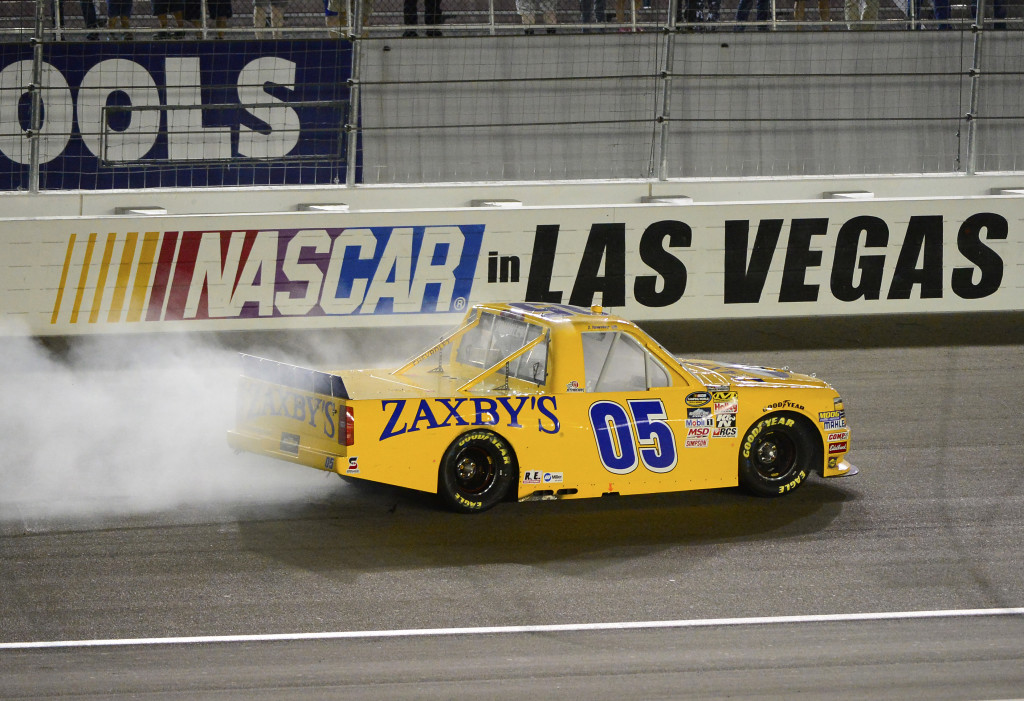 LAS VEGAS, NV - OCTOBER 3:  John Wes Townley driver of the #05 Zaxby's Chevrolet celebrates after winning the NASCAR Camping World Truck Series Rhino Linings 350 at the Las Vegas Motor Speedway on October 3, 2015 in Las Vegas, Nevada.  (Photo by Robert Laberge/NASCAR via Getty Images)