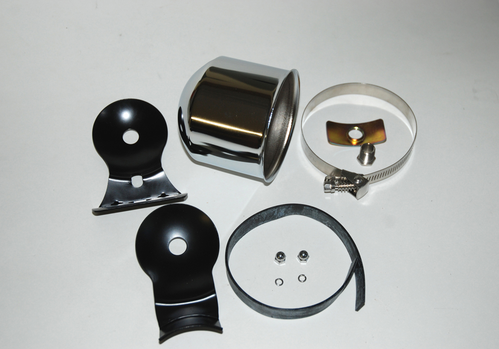Another pair of pieces offered alongside the pair of tachometers is a separate cup and mount kit arrangement. They're identical to the components included with the tachometer assemblies, but they're also era correct for refitting to a vintage tachometer. Included in the mount package is a chrome cup, a pair of mounts, band clamp, clamp vibration band and mount hardware.