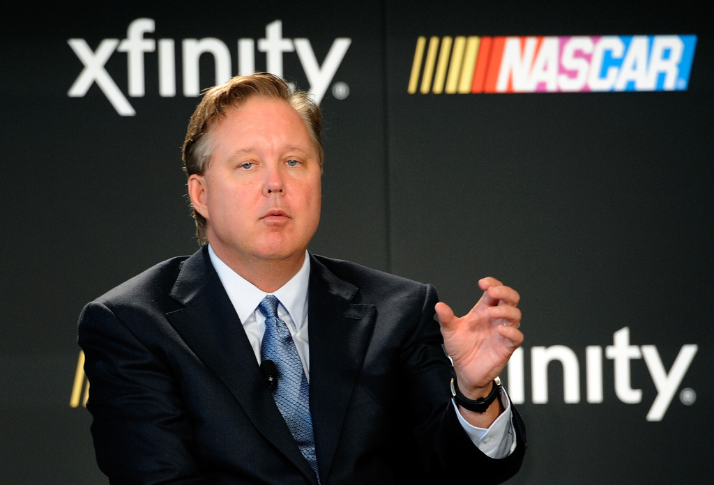 Brian France, CEO and chairman of NASCAR, speaks with the media during the NASCAR series partnership announcement at NASCAR Hall of Fame on September 3, 2014 in Charlotte, North Carolina. NASCAR and Xfinity announced a deal that will span ten years.  (Photo by Jared C. Tilton/NASCAR via Getty Images)