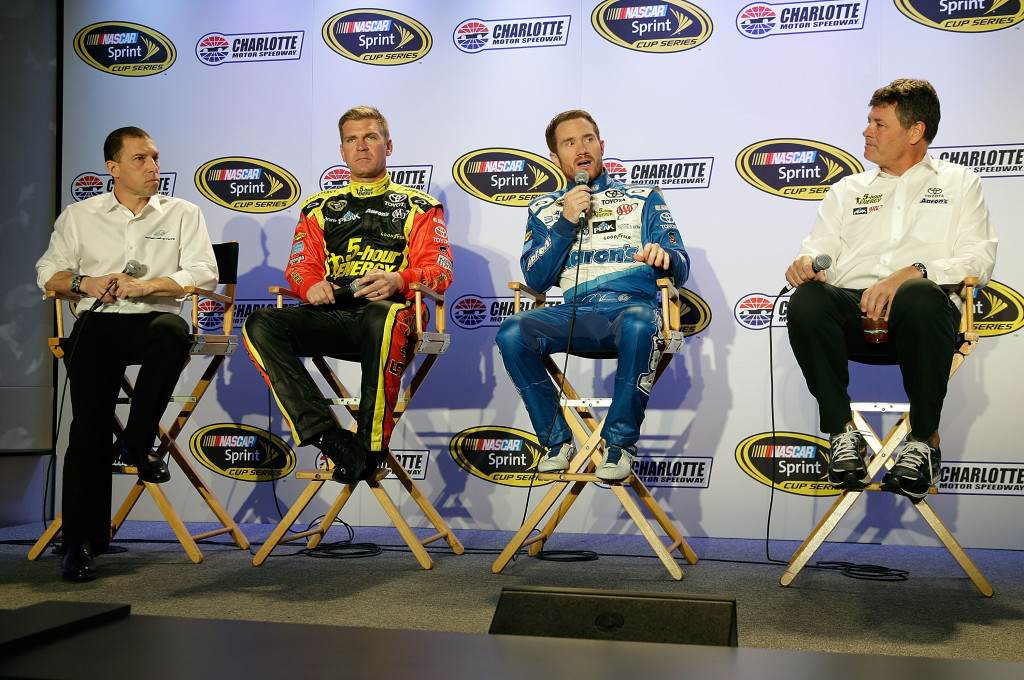 Rob Kauffman, left, drivers Clint Bowyer and Brian Vickers and team owner Michael Waltrip, right, speak to the media during the NASCAR Sprint Media Tour at the Charlotte Convention Center on January 27, 2015 in Charlotte, North Carolina. (Photo by Bob Leverone/NASCAR via Getty Images)