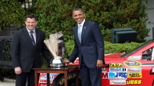 Obama Welcomes Tony Stewart And NASCAR Drivers To White House
