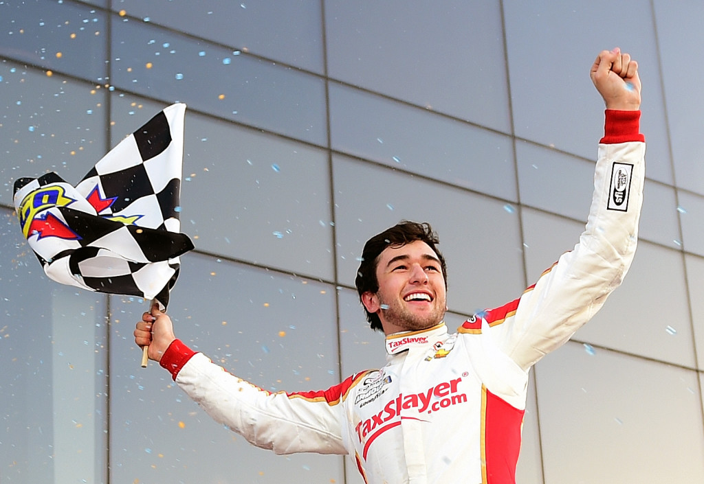 Chase Elliott, driver of the #88 TaxSlayer.com Chevrolet, celebrates in Victory Lane after winning the NASCAR XFINITY Series PowerShares QQQ 300 at Daytona International Speedway on February 20, 2016 in Daytona Beach, Florida.  (Photo by Jared C. Tilton/Getty Images)