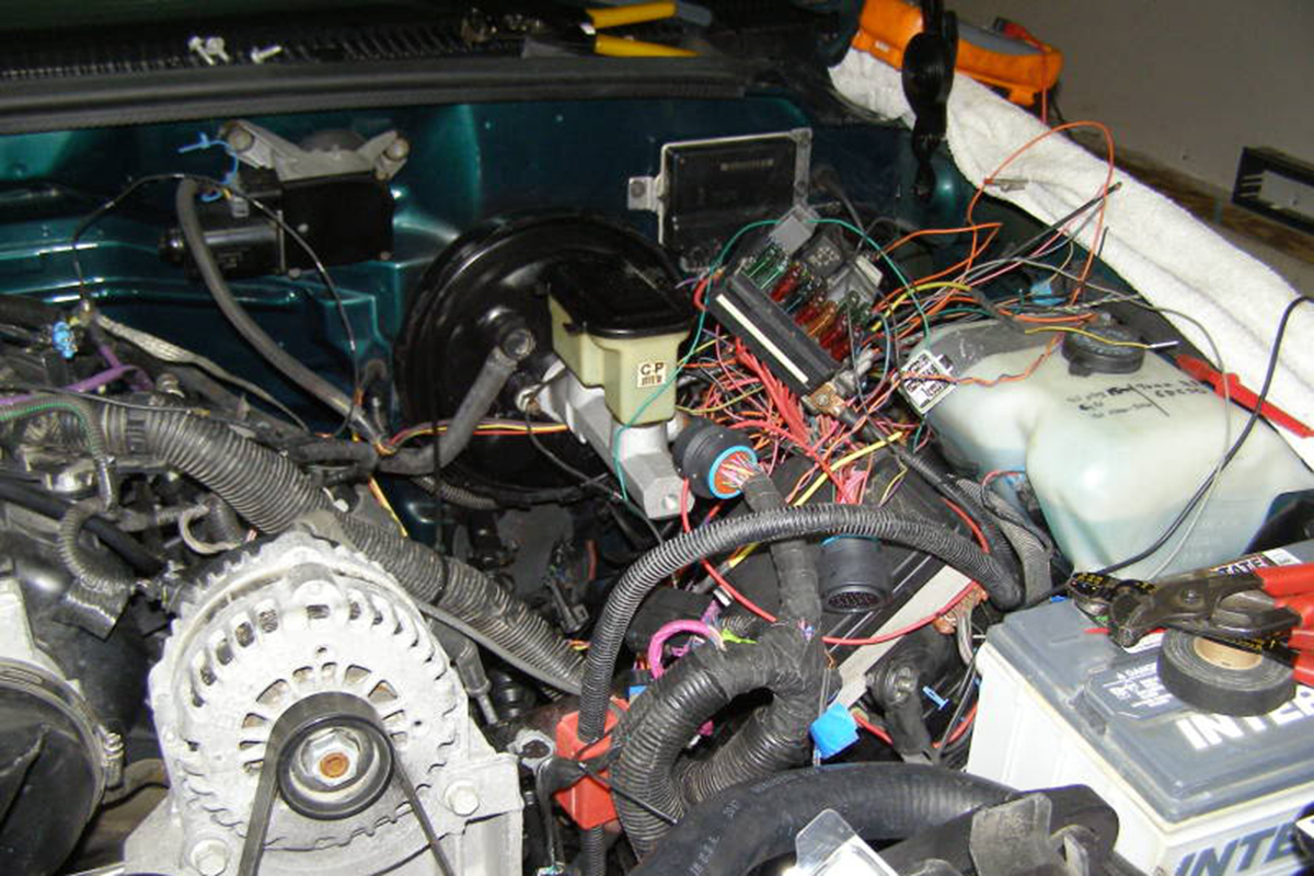 Dad And Brads 95 Chevy Ls Swap Racingjunk News 1999 Silverado Wiring Harness Frame The Spaghetti Of They Ended Up With Once Everything Was Running
