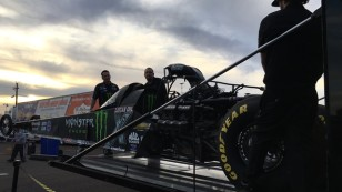 Brittany Force's Monster Energy Top Fuel Dragster is loaded into the trailer at the end of a long weekend.