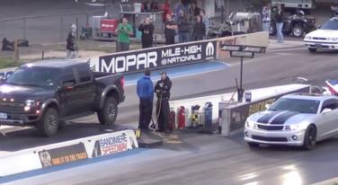 [Video] Camaro Slips at Line Then Runs Down Raptor