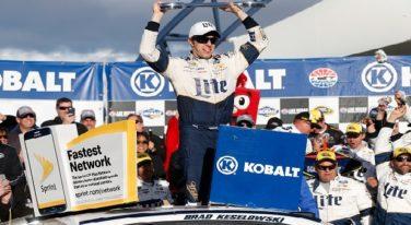 Brad Keselowski Zips Past Kyle Busch to Win Kobalt 400