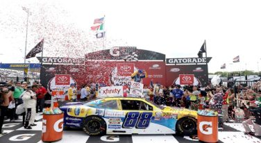 Earnhardt, Jr. Avoids Crashes to Win ToyotaCare 250