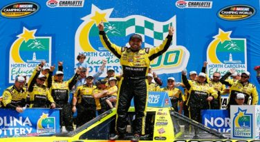 CHARLOTTE, NC - MAY 21:  Matt Crafton, driver of the #88 Damp Rid/Menards Toyota, celebrates in Victory Lane after winning the NASCAR Camping World Truck Series North Carolina Education Lottery 200 at Charlotte Motor Speedway on May 21, 2016 in Charlotte, North Carolina.  (Photo by Jonathan Ferrey/NASCAR via Getty Images)