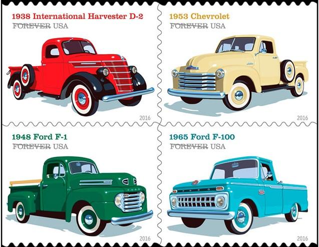 vintage truck postage stamp