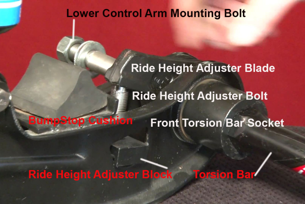 The front of the torsion bar assembly including the ride height adjustment mechanism. Image from screenshot of PST video.