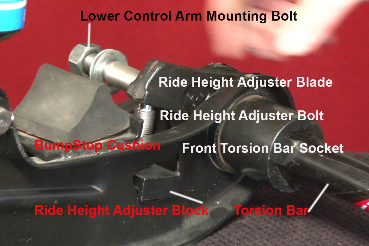 torsion key adjustment bolt. the front of torsion bar assembly including ride height adjustment mechanism. image from key bolt e