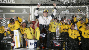 DAYTONA BEACH, FL - JULY 02:  Brad Keselowski, driver of the #2 Detroit Genuine Parts Ford, celebrates in Victory Lane after winning the NASCAR Sprint Cup Series Coke Zero 400 Powered By Coca-Cola at Daytona International Speedway on July 2, 2016 in Daytona Beach, Florida.  (Photo by Sean Gardner/NASCAR via Getty Images) *** Local Caption *** Brad Keselowski