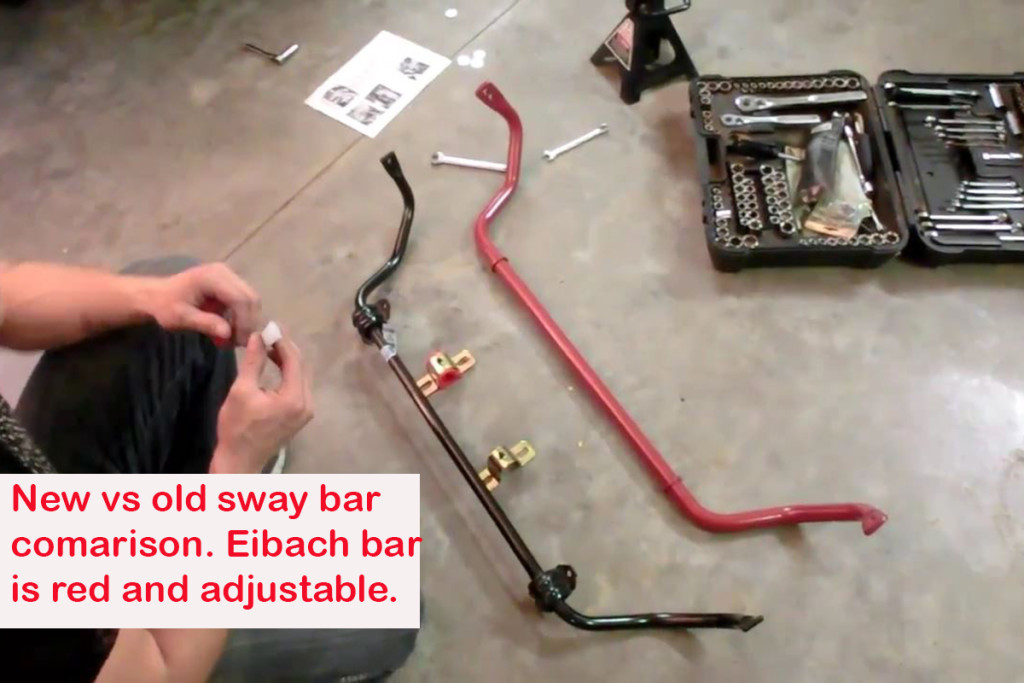 A comparison of the OEM sway bar on a late model Camaro and an Eibach performance adjustable sway bar. The Eibach bar is the red one.