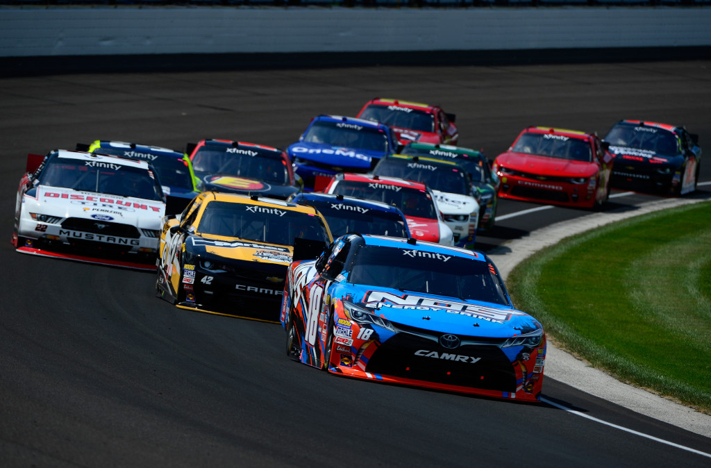 INDIANAPOLIS, IN - JULY 23:  Kyle Busch, driver of the #18 NOS Energy Drink Toyota, leads the field during the NASCAR XFINITY Series Lilly Diabetes 250 Heat #1 at Indianapolis Motor Speedway on July 23, 2016 in Indianapolis, Indiana.  (Photo by Robert Laberge/Getty Images)