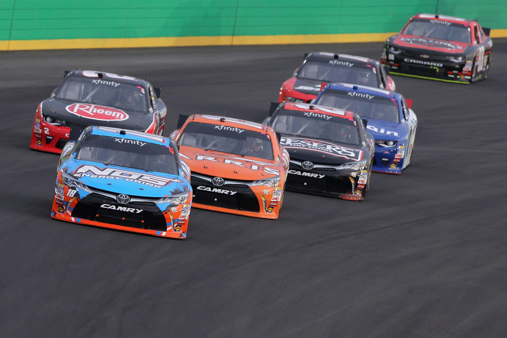 SPARTA, KY - JULY 08: Kyle Busch, driver of the #18 NOS Energy Drink Toyota, leads a pack of cars during the NASCAR XFINITY Series ALSCO 300 at Kentucky Speedway on July 8, 2016 in Sparta, Kentucky.  (Photo by Dylan Buell/Getty Images)