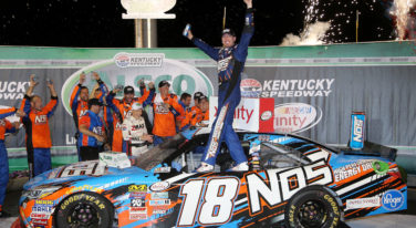 SPARTA, KY - JULY 08: Kyle Busch, driver of the #18 NOS Energy Drink Toyota, celebrates in Victory Lane after winning the NASCAR XFINITY Series ALSCO 300 at Kentucky Speedway on July 8, 2016 in Sparta, Kentucky.  (Photo by Jerry Markland/Getty Images)
