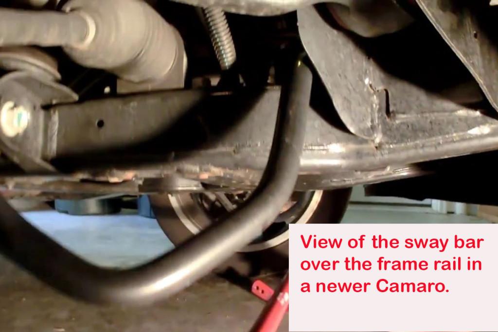 On newer Camaros, the sway bar is above the frame while in older GM cars it's located below the frame.