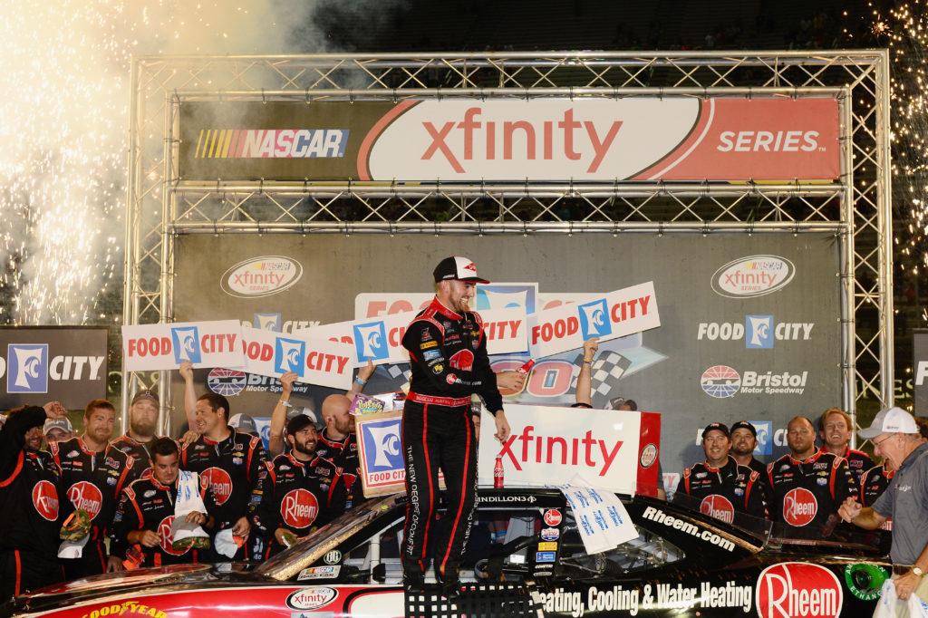 BRISTOL, TN - AUGUST 19: Austin Dillon, driver of the #2 Rheem Chevrolet, celebrates in Victory Lane after winning the NASCAR XFINITY Series Food City 300 at Bristol Motor Speedway on August 19, 2016 in Bristol, Tennessee.  (Photo by Jeff Curry/NASCAR via Getty Images)