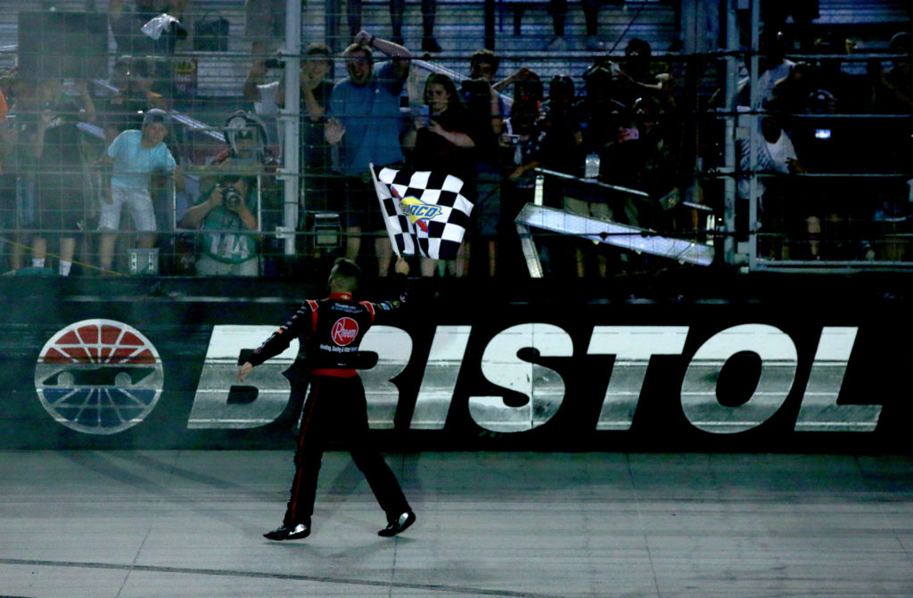 BRISTOL, TN - AUGUST 19: Austin Dillon, driver of the #2 Rheem Chevrolet, celebrates with the checkered flag after winning the NASCAR XFINITY Series Food City 300 at Bristol Motor Speedway on August 19, 2016 in Bristol, Tennessee.  (Photo by Sean Gardner/Getty Images)