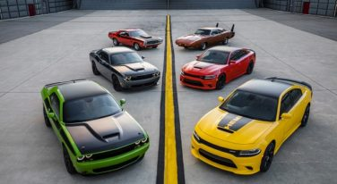 2017 Dodge Challenger T/A, 2017 Dodge Challenger T/A 392, 1970 Dodge Challenger T/A, 2017 Dodge Charger Daytona 392, 2017 Dodge Charger Daytona and 1969 Dodge Charger Daytona (from left foreground to right background)