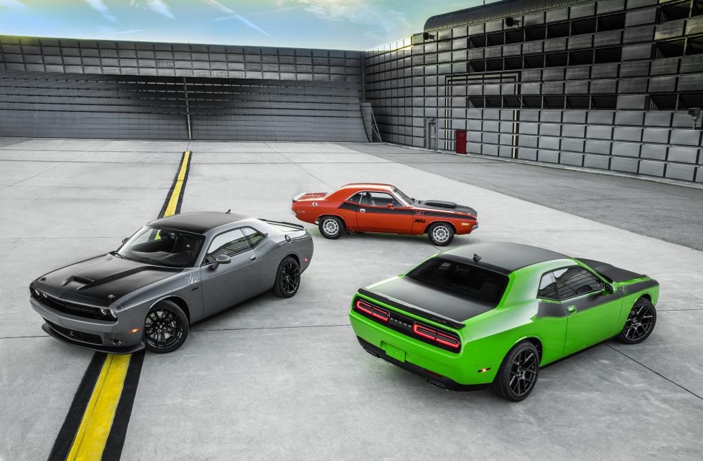 2017 Dodge Challenger T/A 392 (left), 2017 Dodge Challenger T/A (right) and 1970 Dodge Challenger T/A