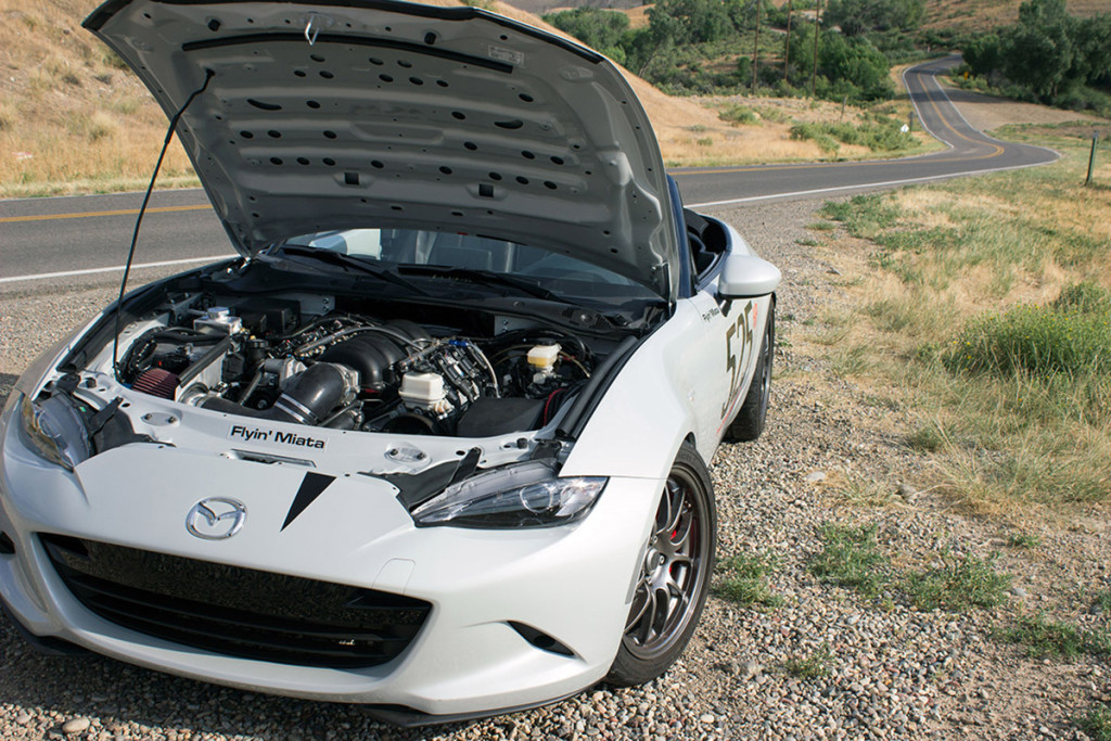 Look closely. That's an LS376/525 under the hood. Image courtesy Flyin Miata.