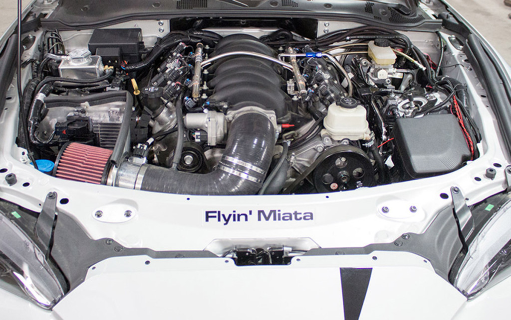 A closer look at the LS376/525 installed in the 2016 ND Miata from Flyin' Miata. Wipe y our chin, you're drooling! Image courtesy Flyin' Miata.