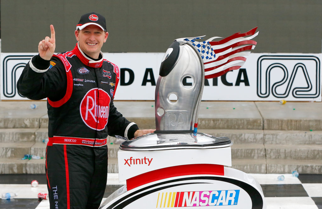 ELKHART LAKE, WI - AUGUST 27:  Michael McDowell drives the #2 Rheem  Chevrolet poses with the trophy after his victory at the NASCAR Xfinity Series Road America 180 fired up by Johnsonville at Road America on August 27, 2016 in Elkhart Lake, Wisconsin.  (Photo by Jonathan Ferrey/NASCAR via Getty Images)