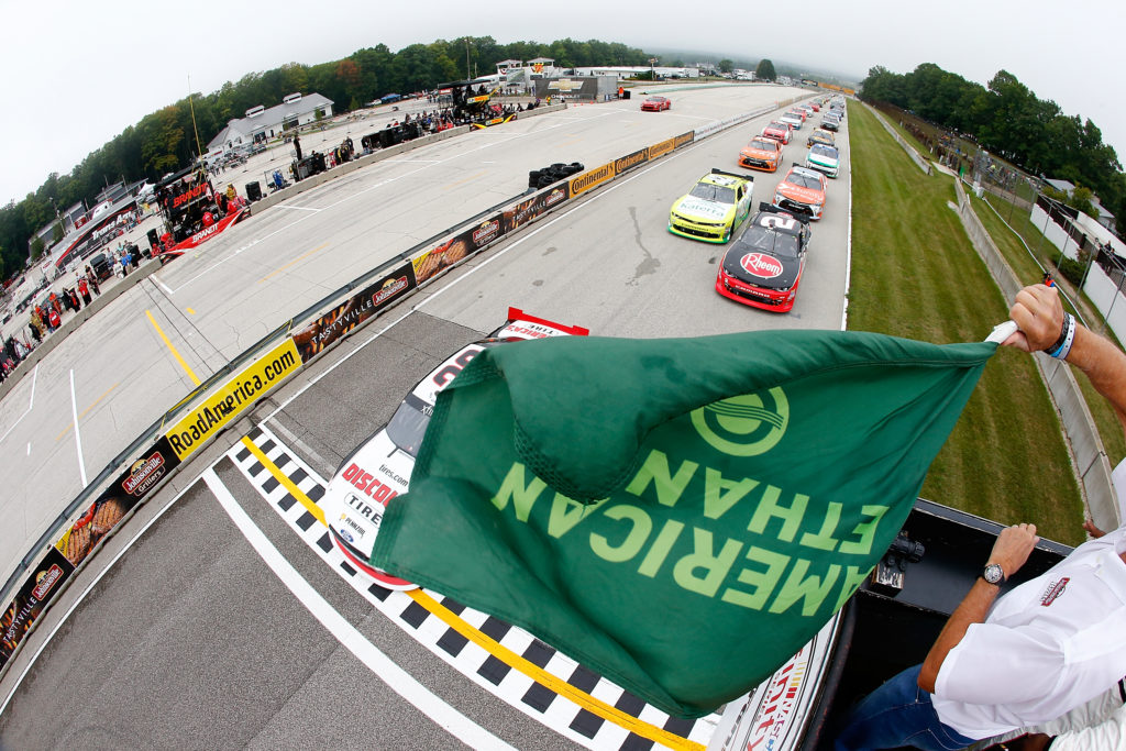 ELKHART LAKE, WI - AUGUST 27:  The green flag waves for the start of the NASCAR Xfinity Series Road America 180 fired up by Johnsonville at Road America on August 27, 2016 in Elkhart Lake, Wisconsin.  (Photo by Jonathan Ferrey/NASCAR via Getty Images)