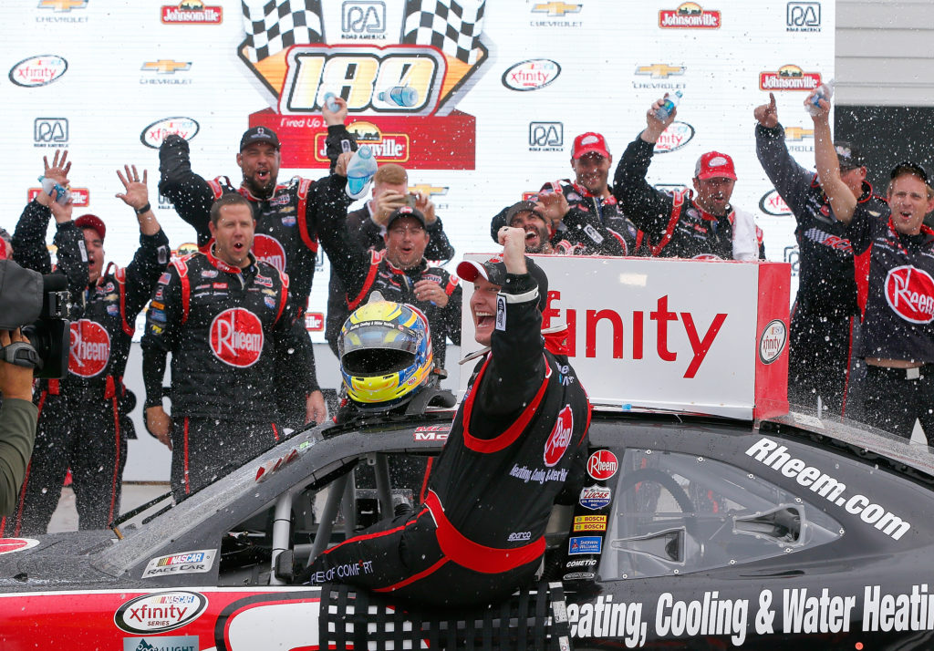 ELKHART LAKE, WI - AUGUST 27:  Michael McDowell drives the #2 Rheem  Chevrolet celebrates his victory after the NASCAR Xfinity Series Road America 180 fired up by Johnsonville at Road America on August 27, 2016 in Elkhart Lake, Wisconsin.  (Photo by Jonathan Ferrey/NASCAR via Getty Images)