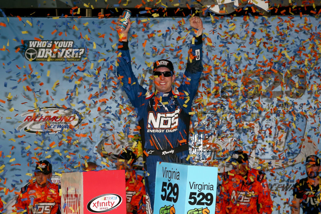 Kyle Busch, driver of the #18 NOS Toyota, celebrates in Victory Lane after winning the NASCAR XFINITY Series Virginia529 College Savings 250 at Richmond International Raceway on September 9, 2016 in Richmond, Virginia.  (Photo by Sarah Crabill/Getty Images)