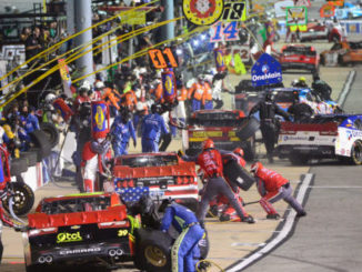 :  A general view as cars pit during the NASCAR XFINITY Series Virginia529 College Savings 250 at Richmond International Raceway on September 9, 2016 in Richmond, Virginia.  (Photo by Robert Laberge/Getty Images)