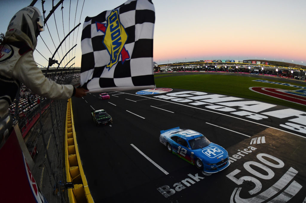 Joey Logano crosses the finish line. (Photo by Jared C. Tilton/NASCAR via Getty Images)