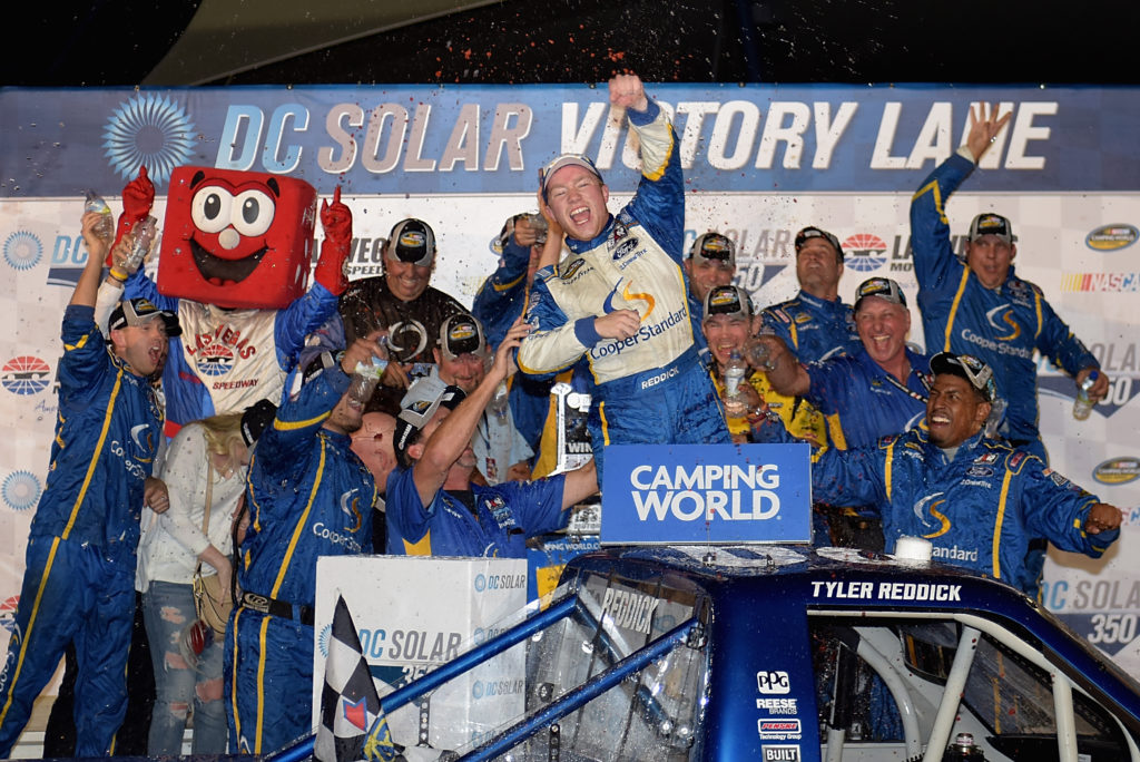 Tyler Reddick celebrates in Victory Lane.  (Photo by Jonathan Moore/NASCAR via Getty Images)