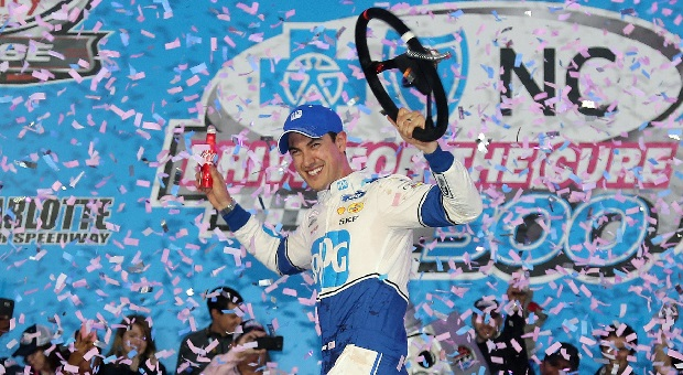 Joey Logano Leaps to the Lead, Winning Race for the Cure 300