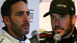 The week following his double failure of the LIS following his win at the Chase opener at Chicagoland, Truex's car again failed LIS with no sanctions. Jimmie's car also failed and no sanctions against him were taken either. Image courtesy foxsports.com.